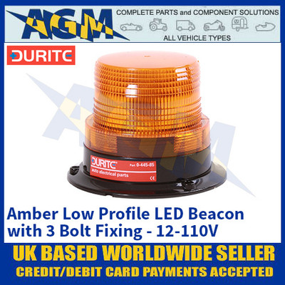 Durite 0-445-85 Amber Low Profile LED Beacon with 3 Bolt Fixing - 12-110V