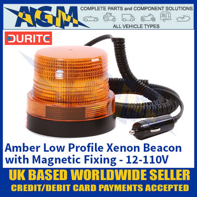 Durite 0-446-86 Amber Low Profile Xenon Beacon with Magnetic Fixing - 12-110V