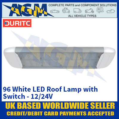 Durite 0-668-25 96 White LED Roof Lamp with Switch - 12/24V