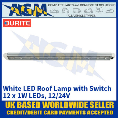 Durite 0-668-35 White LED Roof Lamp with Switch - 12 x 1W LEDs, 12/24V