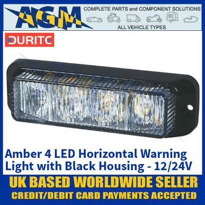 Durite 0-442-21 Amber 4 LED Horizontal Warning Light with Black Housing - 12/24V