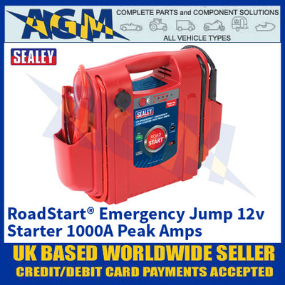 Sealey RS1 RoadStart® Emergency Jump Starter, 12V, 1000 Peak Amps
