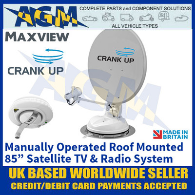 "Maxview Crank Up, Manually Operated Roof Mounted 85"" Satellite TV & Radio System"