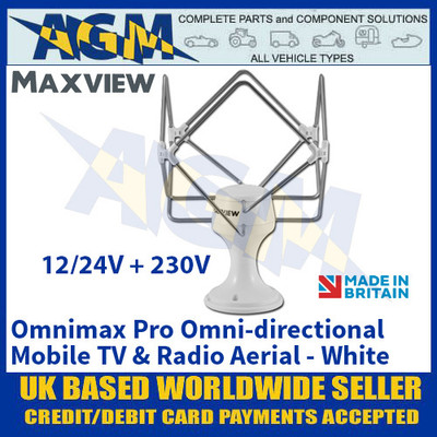 Maxview Omnimax Pro Omni-directional Mobile TV and Radio Aerial - White - 12/24/230V