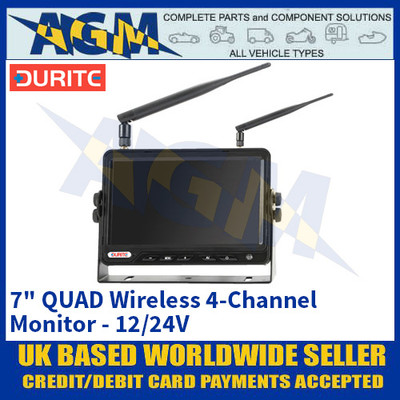 "Durite 0-775-02 7"" QUAD Wireless 4-Channel Monitor - 12/24V"