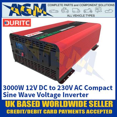 Durite 0-857-30 3000W 12V DC to 230V AC Compact Sine Wave Voltage Inverter