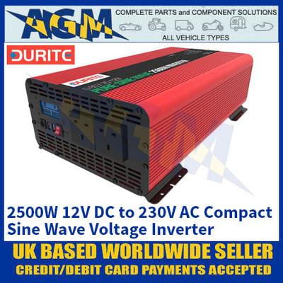 Durite 0-857-25 2500W 12V DC to 230V AC Compact Sine Wave Voltage Inverter