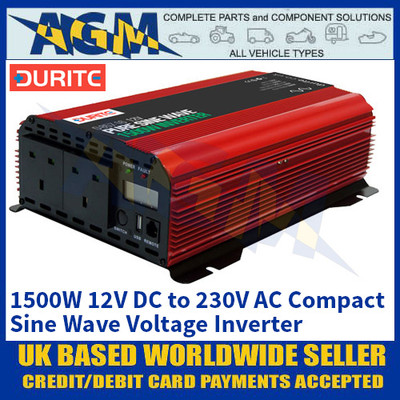 Durite 0-857-16 1500W 12V DC to 230V AC Compact Sine Wave Voltage Inverter