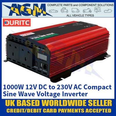 Durite 0-857-10 1000W 12V DC to 230V AC Compact Sine Wave Voltage Inverter