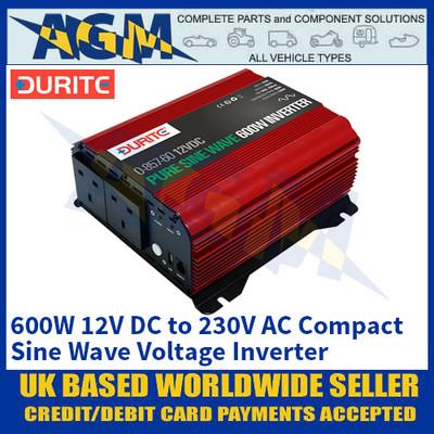 Durite 0-857-60 600W 12V DC to 230V AC Compact Sine Wave Voltage Inverter
