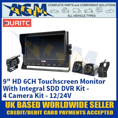 "Durite 0-774-00 9"" HD 6CH Touchscreen Monitor With Integral SDD DVR Kit - 4 Cameras - 12/24V"