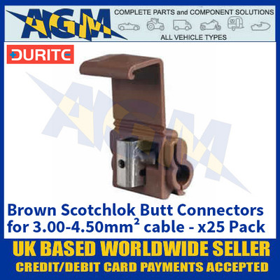 Durite 0-005-61 Brown Scotchlok Butt Connectors - for 3.00-4.50mm² cable