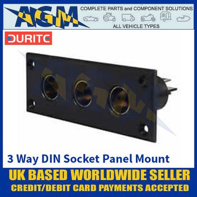 Durite 0-601-54 Three Way DIN Sockets On A Panel - Black