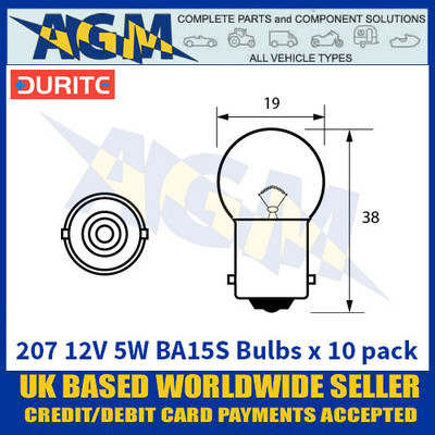 Durite 8-002-07 207 12 Volt 5 Watt BA15S Bulbs - x10 Pack