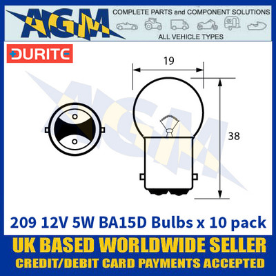 Durite 8-002-09 209 12 Volt 5 Watt BA15D Bulbs - x10 Pack