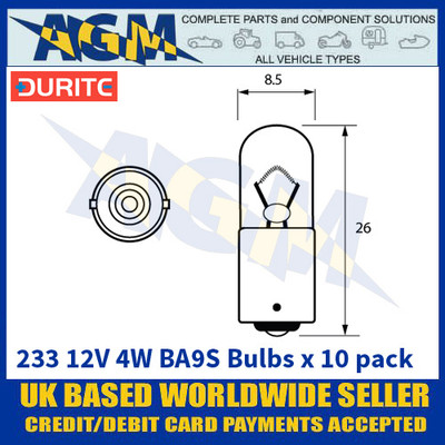 Durite 8-002-33 233 12 Volt 4 Watt BA9S Bulbs - x10 Pack