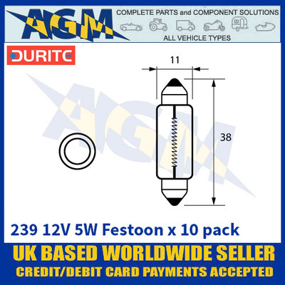 Durite 8-002-39 239 12 Volt 5 Watt Festoon Bulbs 11 x 38mm - x10 Pack
