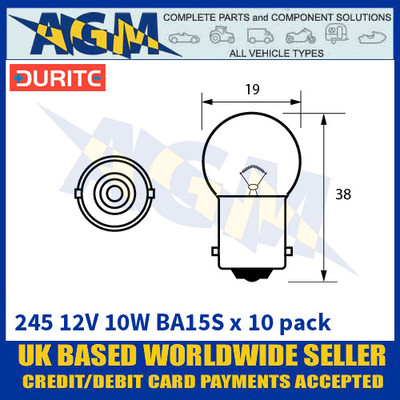 Durite 8-002-45 245 12 Volt 10 Watt BA15S Bulbs - x10 Pack