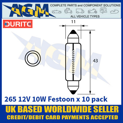 Durite 8-002-65 265 12 Volt 10 Watt Festoon Bulbs 11 x 43mm - x10 Pack