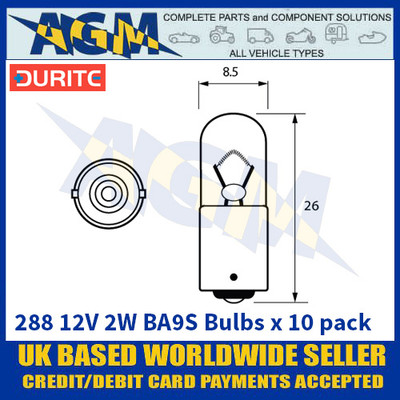 Durite 8-002-88 288 12 Volt 2 Watt BA9S Bulbs - x10 Pack