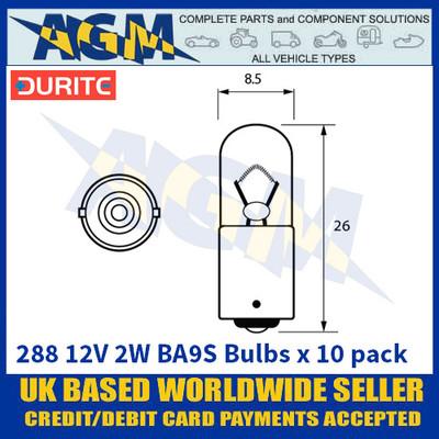 Durite 8-002-88 288 12 Volt 2 Watt BA9S Bulbs - x10 Pack