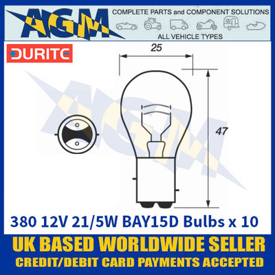 Durite 8-003-80 380 12 Volt 21/5 Watt BAY15D Bulbs - x10 Pack