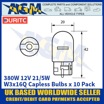 Durite 8-003-80W 380W 12 Volt 21/5w W3X16Q 20mm Capless Bulbs - x10 Pack
