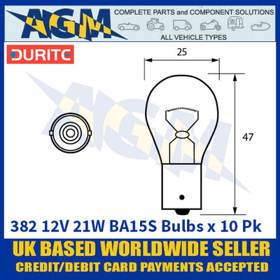 Durite 8-003-82 382 12 Volt 21 Watt BA15S Bulbs - x10 Pack