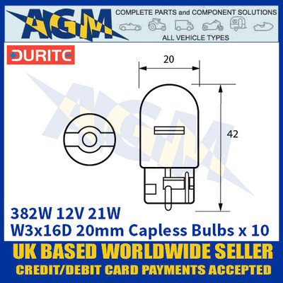 Durite 8-003-82W 382W 12 Volt 21 Watt W3x16D 20mm Capless Bulbs - x10 Pack
