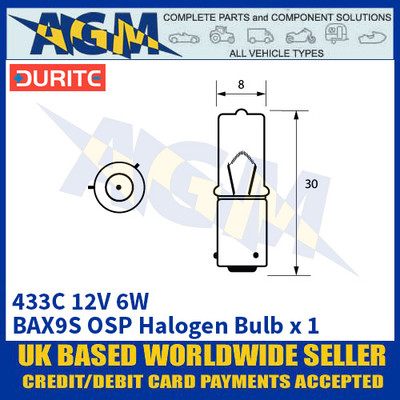 Durite 7-004-33C 433C 12 Volt 6 Watt BAX9S OSP Halogen Bulb