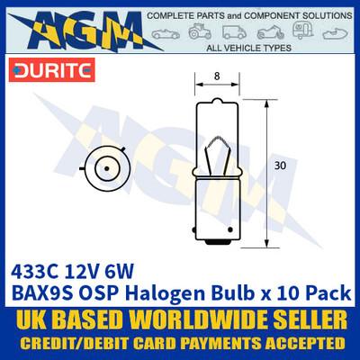 Durite 8-004-33C 433C 12 Volt 6 Watt BAX9S OSP Halogen Bulb - x10 Pack