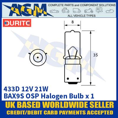 Durite 7-004-33D 433D 12 Volt 21 Watt BAX9S OSP Halogen Bulb