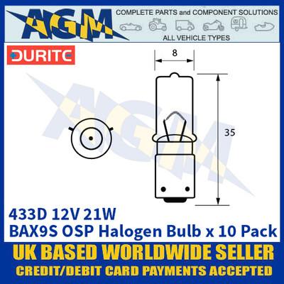 Durite 8-004-33D 433D 12 Volt 21 Watt BAX9S OSP Halogen Bulb - x10 Pack