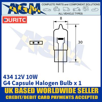 Durite 7-004-34 434 12 Volt 10 Watt G4 Capsule Halogen Bulb