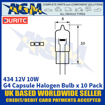Durite 8-004-34 434 12 Volt 10 Watt G4 Capsule Halogen Bulb - x10 Pack