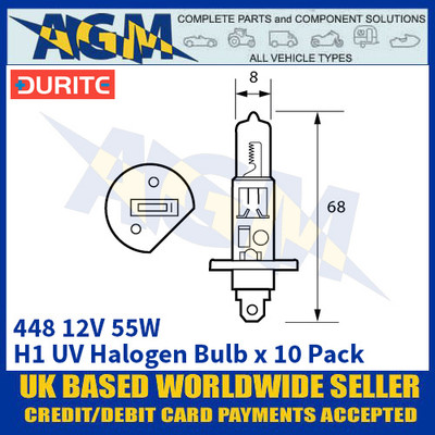 Durite 8-004-48 448 12 Volt 55 Watt H1 UV Halogen Bulb - x10 Pack
