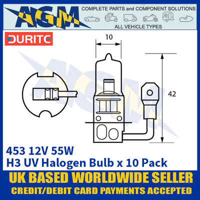 Durite 8-004-53 453 12 Volt 55 Watt H3 UV Halogen Bulb - x10 Pack