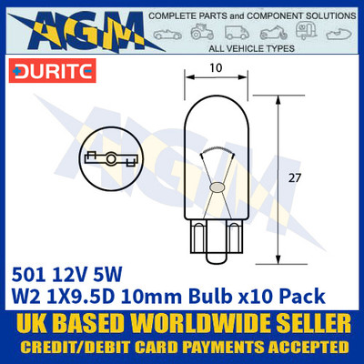 Durite 8-005-01 501 12 Volt 5 Watt W2.1X9.5D 10mm Bulb - x10 Pack