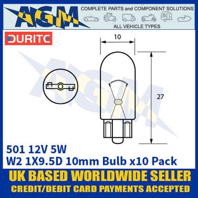 Durite 8-005-01 501 12 Volt 5 Watt W2.1X9.5D 10mm Bulb - x10 Pack