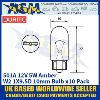 Durite 8-005-01A 501A 12 Volt 5 Watt W2.1X9.5D Amber 10mm Bulb - x10 Pack