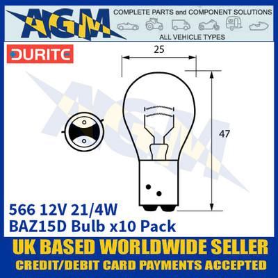 Durite 8-005-66 566 12 Volt 21/4 Watt BAZ15D Bulb - x10 Pack