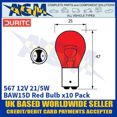 Durite 8-005-67 567 12 Volt 21/5 Watt BAY15D Red Bulb - x10 Pack