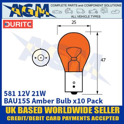 Durite 8-005-81 581 12 Volt 21 Watt BAU15S Amber Bulb - x10 Pack