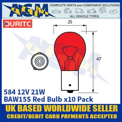 Durite 8-005-84 584 12 Volt 21 Watt BAW15S Red Bulb - x10 Pack