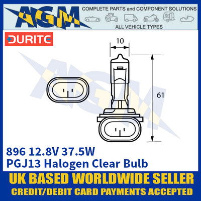 Durite 7-008-96 896 12.8 Volt 37.5 Watt Halogen Clear Bulb