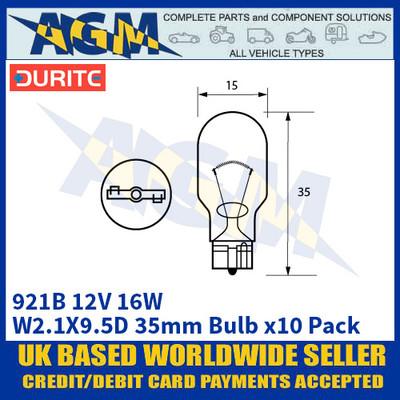 Durite 8-009-21B 921B 12 Volt 16 Watt W2.1X9.5D 35mm Bulb - x10 Pack