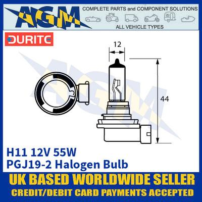 Durite 7-00H-11 H11 PGJ19-2 12 Volt 55 Watt Halogen Bulb