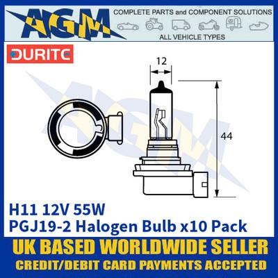 Durite 8-00H-11 H11 PGJ19-2 12 Volt 55 Watt Halogen Bulb - x10 Pack