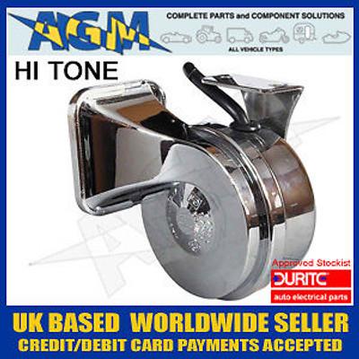 Durite 0-642-14 Marine Style 12v, 490Hz Chrome Trumpet Horn High Tone