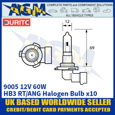 Durite 8-090-05 9005 12 Volt 60 Watt HB3 RT/ANG Halogen Bulb - x10 Pack